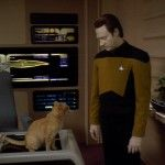 """Data of Star Trek: The Next Generation. He had a cat named Spot. He had no emotions. He eventually got an emotions chip in his brain. It was sweet, sweet feels from then on for the android. He was kinda a Spock """"Mr. Logic"""" replacement for the show, but became beloved by all."""