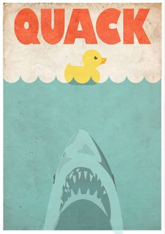 Jaws Rubber Duck Stretched Canvas