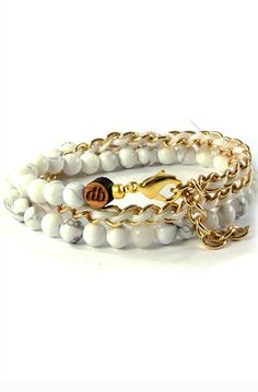 50/50 Chain Wrap Bracelet   White Howlite