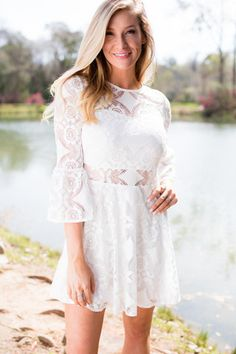 Call Me Lacey White Lace Fit and Flare DressMeasurements are taken from underarm to bottom of hem. Sizing is approximate and not guaranteed to fit you perfectly. Color may appear slightly different in person and on other devices, but pl...