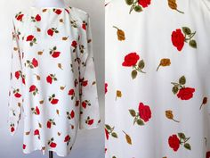 Vintage 1970s Blouse | VTG 70s | Small Vintage Blouse | Small Vintage Top | Floral Top | Roses | Long Sleeve | Vintage Floral Top | 1970s