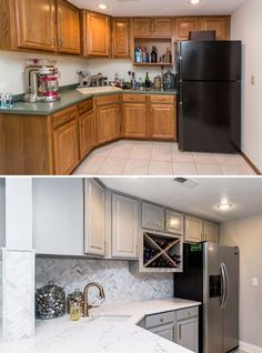 Oakstone Homes: Before & After Honey Oak Home Renovation - Katalina Girl #OakstoneHomes #Renovations #Kitchen #Before&After #Modern #Wood #White #BarnDoors #Marble #Remodel #Upscale #Trendy #Beautiful #New #Old #House #Building #HomeInspiration #InteriorDecorating #Interior #Decorating #KatalinaGirl