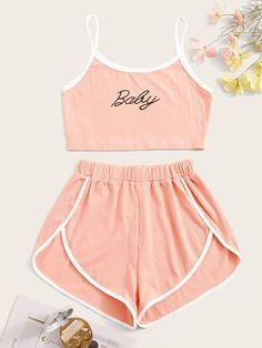Shop Letter Graphic Rib Cami Pajama Set at ROMWE, discover more fashion styles online. Cute Lazy Outfits, Teenage Outfits, Outfits For Teens, Stylish Outfits, Cute Pajama Sets, Cute Pajamas, Girls Fashion Clothes, Teen Fashion Outfits, Girl Fashion