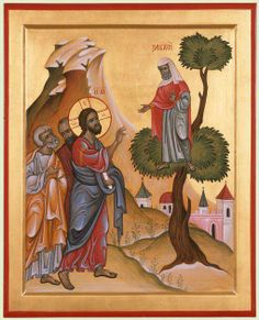 Sunday of Zacchaeus Jesus sees Zacchaeus and goes to his house. The presence of God is a transformational experience for Zacchaeus. Religious Images, Religious Icons, Religious Art, Jesus Pictures, Pictures To Draw, Christ Is Risen, Jesus Christ, Religion Catolica, Biblical Art