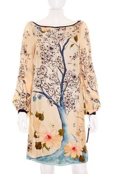 Diseño original oriental. Vestido Mujer - Zara Woman de Seda con Estampado Floral de Segunda Mano  ropasion.com