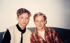 In their pre-dapper-dude-days, Ryan Gosling & Justin Timberlake hanging out back in 1994.