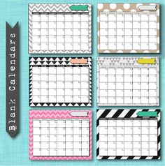 free blank diy calendar printables - any year Or month. So many colors and patterns to mix and match your office or kitchen decor