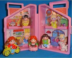 Knickerbocker Dolly Pops. Small, hard, plastic dolls with interchangeable snap-on plastic clothing, bikes, chairs, etc.