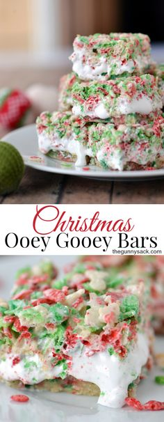 Christmas Ooey Gooey Bars are a holiday favorite for kids of all ages! This fun recipe has a cake mix crust, Rice Krispie Treats on top and marshmallow cream in the middle.