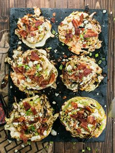 Grilled Cabbage Steaks Marinated With McCormick Grill Mates Smoky Applewood seasoning, topped with Bacon, Blue Cheese, and Green onions! Grilled Cabbage Steaks, Roasted Cabbage, Cabbage And Bacon, Cabbage Recipes, Grilled Steaks, Grilling Recipes, Cooking Recipes, Healthy Recipes, Vegetarian Grilling