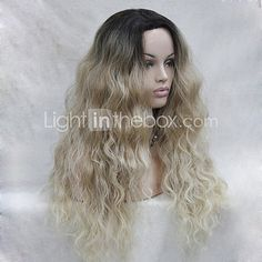High Quality Heat Resistant  Synthetic Ombre Blonde With Dark Root  Wavy Lace Front Long Wig - USD $67.15