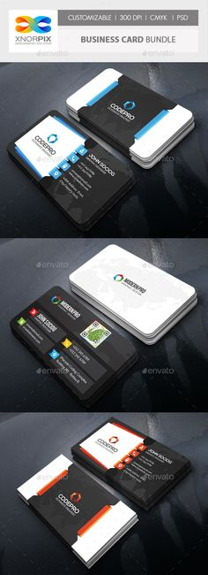 Business Card Bundle - #Corporate Business Cards Download Here:  https://graphicriver.net/item/business-card-bundle/19578989?ref=suz_562geid