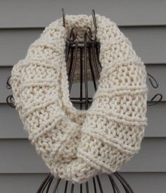 Infinity Scarf In The Fisherman Color-Cowl Scarf-Handknit Scarf-Accessory