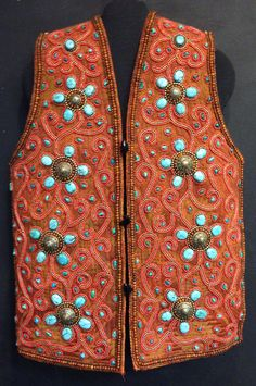 Tibetan Vest Tribal Turquoise Beaded Pendant  Beads Wool Vest Handmade Hand Sewn Turquoise Brass Red One of a Kind Home Decor Gift Clothing - pinned by pin4etsy.com