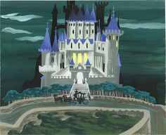 Mary Blair Cinderella Animation Concept Painting Original Art (Disney, A carriage sits before a magnificent ca. Mary Blair, Disney Concept Art, Disney Art, Walt Disney, Disney Magic, Cinderella Castle, Cinderella Birthday, Cinderella Disney, Disney Dream