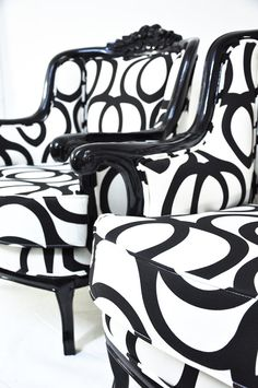 Fabulous, slightly fancy and extravagant black and white chairs