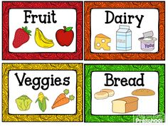 Labels for the housekeeping center/ dramatic play kitchen from Play to Learn Preschool