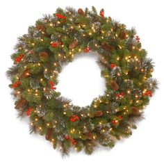 Wonderful Battery Lighted Christmas Wreaths Collection : Charming National Tree Crestwood Spruce PreLit Christmas Wreath Feature 50 BatteryOperated White LED Lights and 200 Branch Tips plus Trimmed with Red Berries Pine Cones also Glitter