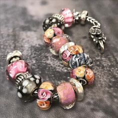 Pink and Grey Trollbeads Bracelet