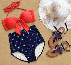 High waist swim suit