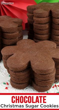 So glad I found this Chocolate Christmas Sugar Cookies recipe - they make the best sugar cookies I have ever tasted. Christmas Sugar Cookie Recipe, Chocolate Sugar Cookie Recipe, Chocolate Christmas Cookies, Best Sugar Cookies, Sugar Cookies Recipe, Yummy Cookies, Holiday Cookies, Holiday Desserts, Chocolate Cookies