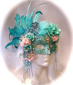 Sea Foam Pearl Masquerade Mask Carnevale Mask by Marcellefinery