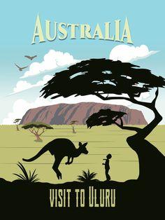 Australia travel poster retro artwork mountain vintage wall art minimalism sydney map Uluru