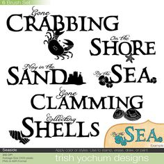 Beach Word Art Digital - Sea Ocean Clip Art - Hand Drawn Word Art - Scrapbooking Titles - PNG ClipArt and Photoshop Brushes - Digital Stamps…$3.00