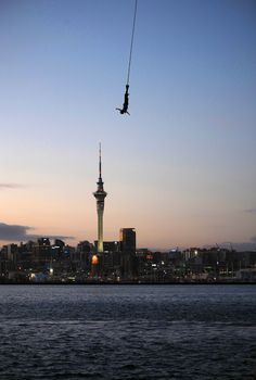 Bungy Jumping off the Auckland Harbour Bridge - Auckland Skytower in the Background!