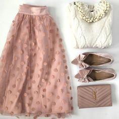 polka dot tulle skirt velvet pink bow pumps saint laurent wallet on chain