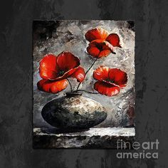 Poppies 02 - Style Black White And Red, by Emerico Imre Toth