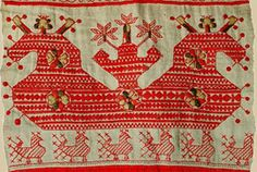 Embroidery. Fragment of towels. Kargopol, Olonets province, 19th century linen