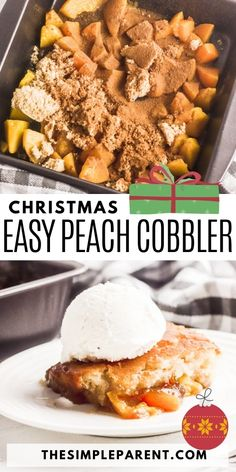 If you need an easy Christmas dessert recipe that offers something a bit different from pumpkin pie and cookies, try this easy peach cobbler recipe! So simple to make and so delicious! Easy Christmas Dinner, Christmas Desserts Easy, Easy Desserts, Dessert Recipes, Christmas Foods, Yummy Treats, Yummy Food, Tasty, Peach Cobbler With Bisquick