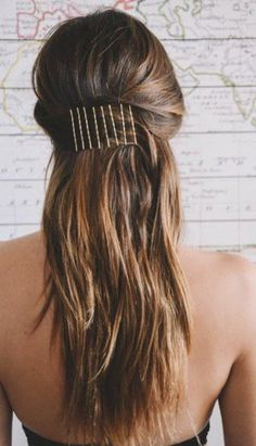half ponytail with bobby-pins | bobby pin hairstyles | brunette long layered hair