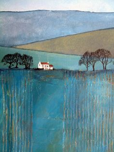 Items similar to Winter Farmhouse, Landscape in Blue. Original acrylic painting on canvas. on Etsy