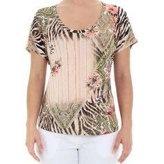Blusa em Malha de Viscose Estampada com Decote Careca - Del Carmen By Sarruc.