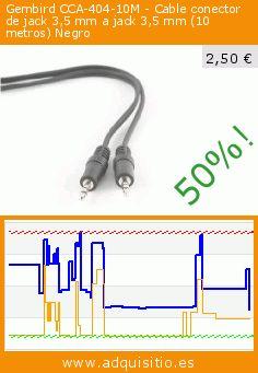 Gembird CCA-404-10M - Cable conector de jack 3,5 mm a jack 3,5 mm (10 metros) Negro (Electrónica). Baja 50%! Precio actual 2,50 €, el precio anterior fue de 5,03 €. https://www.adquisitio.es/gembird/cca-404-10m-cable