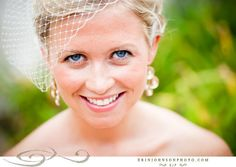 Gorgeous bride, blusher and earrings.