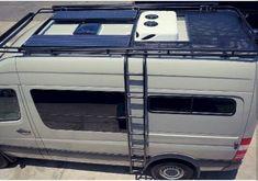 Aluminess roof rack on a Mercedes Sprinter van from El Kapitan T3 Camper, Mercedes Sprinter Camper, Sprinter Rv, Truck Camper, Camper Van, Mercedes Truck, Van Conversion Layout, Sprinter Van Conversion, Camper Conversion