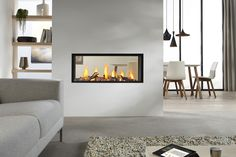 Exclusive double sided fireplace design ideas in modern home interiors : Modern Home Contemporary Double Sided Fireplace Living Room Dining Room Modern Fireplace Screen, Glass Fireplace Screen, Fireplace Doors, Double Sided Fireplace, Home Fireplace, Fireplace Remodel, Living Room With Fireplace, Fireplace Design, Fireplace Ideas