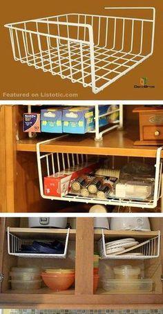 15 Trendy Kitchen Organization Diy Countertops Tips Apartment Kitchen Organization, Diy Kitchen Storage, Diy Storage, Storage Ideas, Kitchen Pantry, Kitchen Small, Storage Solutions, Kitchen Tips, Kitchen Ideas