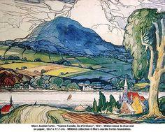 Sainte-Famille, Ile d'Orléans by Marc-Aurele Fortin 1941 Watercolor Landscape, Landscape Paintings, Watercolor Art, Landscapes, House Paintings, Abstract Paintings, Canadian Painters, Canadian Artists, Art Actuel