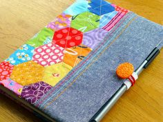 PDF Pattern: Hexie Notebook Cover by JustJudeDesigns on Etsy Sewing Tutorials, Sewing Projects, Sewing Ideas, A5 Notebook Cover, Local Craft Fairs, Scrap Busters, Place Mats Quilted, Ladder Stitch, English Paper Piecing