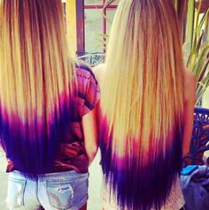 Puple and pink dip dyed hair Wanna do this but with purple and red on black hair. Hells ya!would also be good with blue and purple hair!