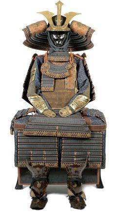 Late Edo Gusoku and sixty-two-plate iron suji bachi kabuto. Late Edo Period, 19th century Janese Armor Japan