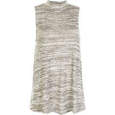 Khaki Fine Knit High Neck Sleeveless Swing Top ($20) ❤ liked on Polyvore featuring tops, khaki, white sleeveless tank top, trapeze top, white tank top, high neck top and sleeveless tank tops