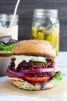 Smoky Quinoa, Beet Veggie Burgers with Adobo Aioli #Vegan | @VanillaAndBean