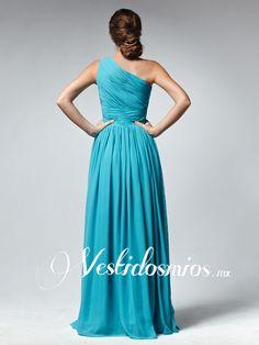 Chiffon Formal Solo Hombro Fruncido Azul Largo Vestido Formal VP125 [VP125] - Mex$2,305