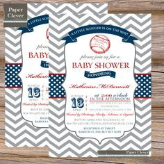 Baseball boys baby shower invitation red & navy by paperclever, $13.00