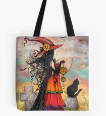Witch Way Halloween Witch and Black Cat Fantasy Art Tote Bag